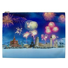 Happy New Year Celebration Of The New Year Landmarks Of The Most Famous Cities Around The World Fire Cosmetic Bag (xxl)