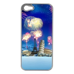 Happy New Year Celebration Of The New Year Landmarks Of The Most Famous Cities Around The World Fire Apple Iphone 5 Case (silver) by Sapixe