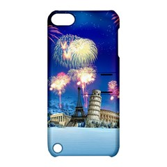 Happy New Year Celebration Of The New Year Landmarks Of The Most Famous Cities Around The World Fire Apple Ipod Touch 5 Hardshell Case With Stand by Sapixe