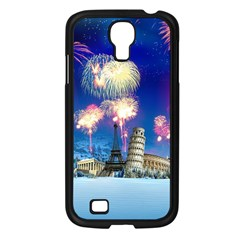 Happy New Year Celebration Of The New Year Landmarks Of The Most Famous Cities Around The World Fire Samsung Galaxy S4 I9500/ I9505 Case (black) by Sapixe