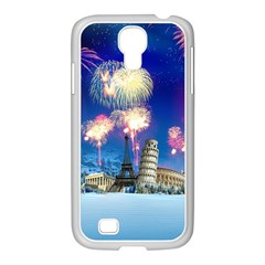 Happy New Year Celebration Of The New Year Landmarks Of The Most Famous Cities Around The World Fire Samsung Galaxy S4 I9500/ I9505 Case (white)