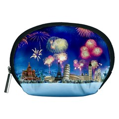 Happy New Year Celebration Of The New Year Landmarks Of The Most Famous Cities Around The World Fire Accessory Pouches (medium)  by Sapixe