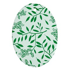 Leaves Foliage Green Wallpaper Oval Ornament (two Sides) by Sapixe