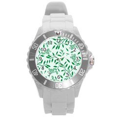 Leaves Foliage Green Wallpaper Round Plastic Sport Watch (l)