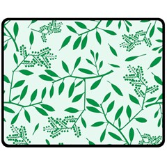 Leaves Foliage Green Wallpaper Double Sided Fleece Blanket (medium)  by Sapixe