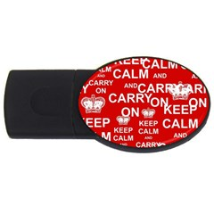 Keep Calm And Carry On Usb Flash Drive Oval (4 Gb) by Sapixe