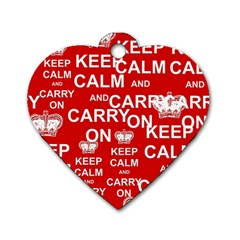Keep Calm And Carry On Dog Tag Heart (two Sides) by Sapixe
