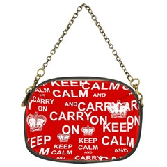Keep Calm And Carry On Chain Purses (two Sides)  by Sapixe