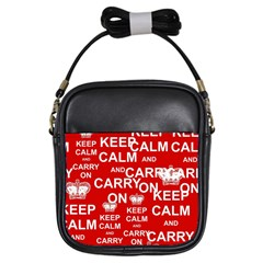 Keep Calm And Carry On Girls Sling Bags by Sapixe