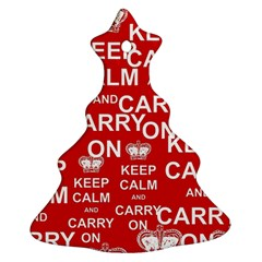 Keep Calm And Carry On Christmas Tree Ornament (two Sides) by Sapixe
