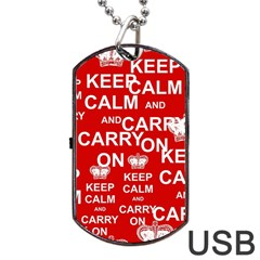 Keep Calm And Carry On Dog Tag Usb Flash (two Sides) by Sapixe