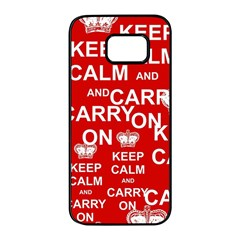 Keep Calm And Carry On Samsung Galaxy S7 Edge Black Seamless Case by Sapixe
