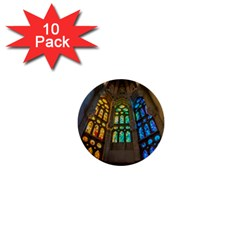 Leopard Barcelona Stained Glass Colorful Glass 1  Mini Buttons (10 Pack)