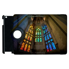 Leopard Barcelona Stained Glass Colorful Glass Apple Ipad 2 Flip 360 Case by Sapixe