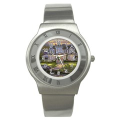 Landscape House River Bridge Swans Art Background Stainless Steel Watch