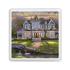 Landscape House River Bridge Swans Art Background Memory Card Reader (square)  by Sapixe