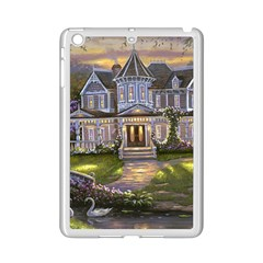 Landscape House River Bridge Swans Art Background Ipad Mini 2 Enamel Coated Cases by Sapixe