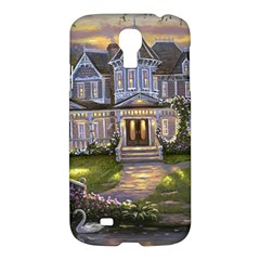 Landscape House River Bridge Swans Art Background Samsung Galaxy S4 I9500/i9505 Hardshell Case
