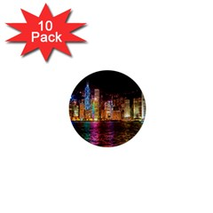 Light Water Cityscapes Night Multicolor Hong Kong Nightlights 1  Mini Buttons (10 Pack)