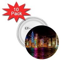 Light Water Cityscapes Night Multicolor Hong Kong Nightlights 1 75  Buttons (10 Pack) by Sapixe