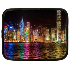 Light Water Cityscapes Night Multicolor Hong Kong Nightlights Netbook Case (large) by Sapixe