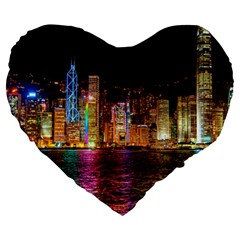 Light Water Cityscapes Night Multicolor Hong Kong Nightlights Large 19  Premium Heart Shape Cushions