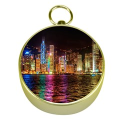 Light Water Cityscapes Night Multicolor Hong Kong Nightlights Gold Compasses by Sapixe