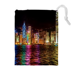 Light Water Cityscapes Night Multicolor Hong Kong Nightlights Drawstring Pouches (extra Large) by Sapixe