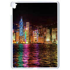 Light Water Cityscapes Night Multicolor Hong Kong Nightlights Apple Ipad Pro 9 7   White Seamless Case