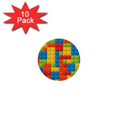 Lego Bricks Pattern 1  Mini Buttons (10 Pack)