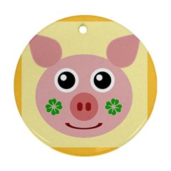 Luck Lucky Pig Pig Lucky Charm Ornament (round) by Sapixe
