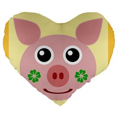 Luck Lucky Pig Pig Lucky Charm Large 19  Premium Heart Shape Cushions