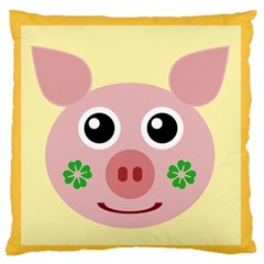 Luck Lucky Pig Pig Lucky Charm Large Flano Cushion Case (two Sides) by Sapixe
