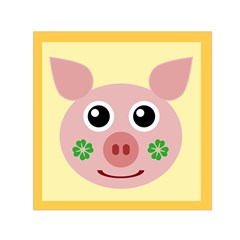 Luck Lucky Pig Pig Lucky Charm Small Satin Scarf (square) by Sapixe