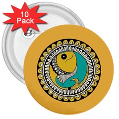 Madhubani Fish Indian Ethnic Pattern 3  Buttons (10 Pack)  by Sapixe