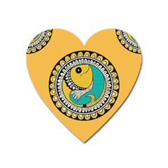 Madhubani Fish Indian Ethnic Pattern Heart Magnet by Sapixe