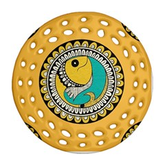 Madhubani Fish Indian Ethnic Pattern Round Filigree Ornament (two Sides) by Sapixe