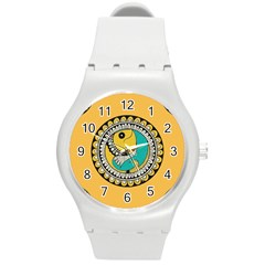 Madhubani Fish Indian Ethnic Pattern Round Plastic Sport Watch (m) by Sapixe