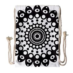 Mandala Geometric Symbol Pattern Drawstring Bag (large) by Sapixe