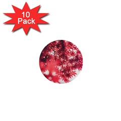 Maple Leaves Red Autumn Fall 1  Mini Buttons (10 Pack)