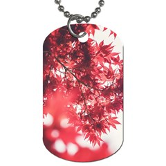 Maple Leaves Red Autumn Fall Dog Tag (one Side) by Sapixe