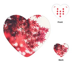 Maple Leaves Red Autumn Fall Playing Cards (heart)  by Sapixe