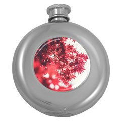 Maple Leaves Red Autumn Fall Round Hip Flask (5 Oz) by Sapixe