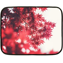 Maple Leaves Red Autumn Fall Fleece Blanket (mini) by Sapixe