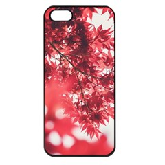 Maple Leaves Red Autumn Fall Apple Iphone 5 Seamless Case (black)