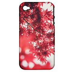 Maple Leaves Red Autumn Fall Apple Iphone 4/4s Hardshell Case (pc+silicone) by Sapixe
