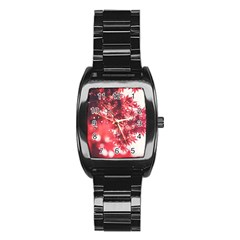 Maple Leaves Red Autumn Fall Stainless Steel Barrel Watch by Sapixe
