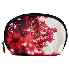 Maple Leaves Red Autumn Fall Accessory Pouches (large)  by Sapixe