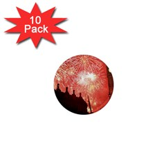 London Celebration New Years Eve Big Ben Clock Fireworks 1  Mini Magnet (10 Pack)