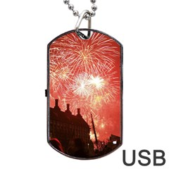 London Celebration New Years Eve Big Ben Clock Fireworks Dog Tag Usb Flash (one Side)